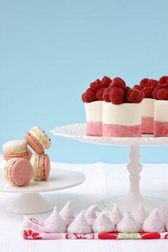 Canelle et vanille's Raspberries-n-Cream themed #dessert table with raspberry and yogurt #mousse cakes, raspberries and cream macarons and raspberry meringue kisses. #wedding