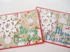 Snowman Christmas cards Set of 4  handmade by JustforUnotes