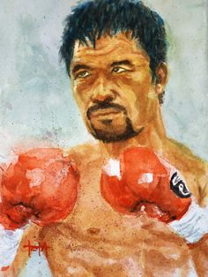 Watercolor Portrait Painting, Watercolor Print, Painting Prints, Sports Painting, Manny Pacquiao, Sports Art, Fine Art Gallery, Contemporary Paintings, Architecture