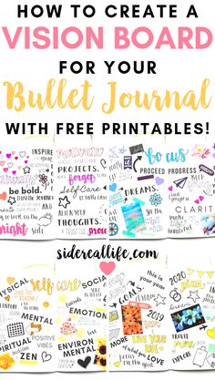 How to make a vision board in your bullet journal! Create a reminder of your goals and aspirations by having a vision board in your daily bullet journal. Bullet Journal Vision Board, Daily Bullet Journal, Bullet Journal How To Start A, Bullet Journal Junkies, Bullet Journal Layout, Bullet Journal Inspiration, Journal Ideas, Bullet Journals, Journal Prompts