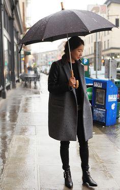 Grey coat, black t-shirt, jeans & ankle boots
