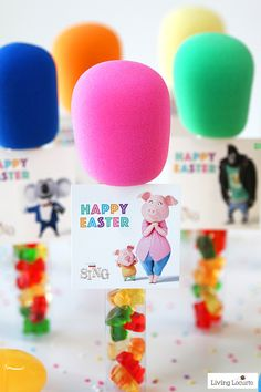 SING Movie Easter Candy Microphone Party Favors are the perfect craft for a birthday and Easter baskets.