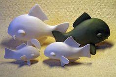 Fish awaiting animation - porcelain sculpture - by Ukrainian artists Anya Stasenko and Slava Leontyev