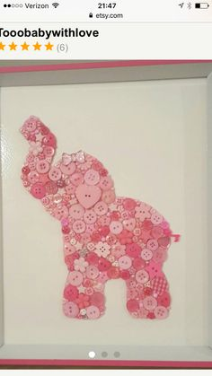 Fun Crafts, Crafts For Kids, Arts And Crafts, Paper Crafts, Disney Button Art, Art Projects, Projects To Try, Elephant Art, Baby Elephant
