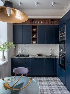〚 Delicate interior design with nostalgic feel in century house in Moscow 〛 ◾ Photos ◾Ideas◾ Design - Everything in this Moscow apartment – the color scheme, Art Deco elements, vintage details – sa - Kitchen Room Design, Kitchen Cabinet Design, Modern Kitchen Design, Home Decor Kitchen, Interior Design Kitchen, Home Kitchens, Art Deco Kitchen, Black Kitchens, Kitchen Cabinets