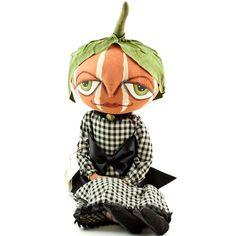 "23"" Halloween JOE SPENCER Pumpkin Girl GRETZY Gathered Traditions Doll Figure #Doll"