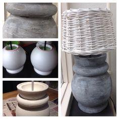 Zelf een kruiklamp gemaakt met piepschuim, instant vuller en met acrylverf betonlook gecreëerd! Zeer blij met het resultaat!
