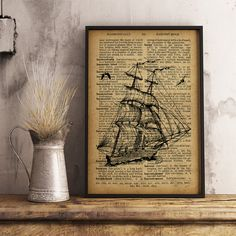 Ship Print Nautical decor Sailor gift Home Decor by 4PrintStudio