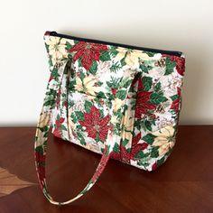 Quilted handmade Christmas Poinsettia handbag from https://www.etsy.com/shop/LarksGiftShop