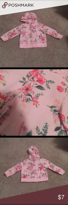 Pink Floral Hoodie Gently used. Minimal signs of wear. Super cute for spring. Carter's Shirts & Tops Sweatshirts & Hoodies
