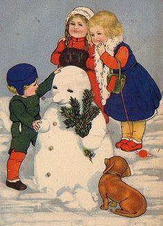 Dachshund Clube | doxie, children, snowman ❄️❄️