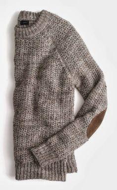 J.Crew Elbow Patch Cozy Round Neck Sweater