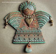 Bilderesultat for christmas clay art Clay Wall Art, Clay Art, Clay Projects, Clay Crafts, Angel Ornaments, Christmas Ornaments, Christmas Clay, Christmas Colors, Pottery Angels