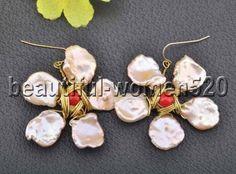 Z7371-15mm-Pink-Keshi-Pearl-Coral-Hand-Made-Flower-Dangle-Earring