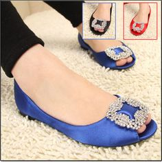 2013 women's shoes square flower rhinestone open toe sandals flat wedding shoes red bridal shoes $19.43