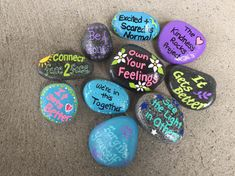 Hand painted rocks by Caroline. The Kindness Rocks Project