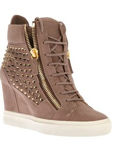 Giuseppe Zanotti Crystal-Studded Suede Wedge Sneaker, Taupe