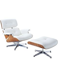 Eaze Lounge Chair in White Leather and Natural Wood with Silver Base ❤ Lexington Modern