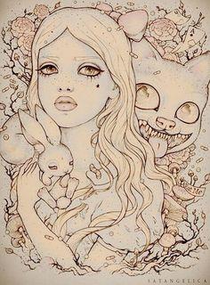 Alternative Alice in Wonderland Sketch Tattoo Idea