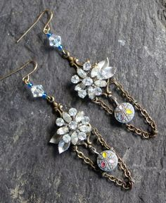 Antique Button Earring and rhinestone assemblage, vintage, antique, jewelry, repurposed, recycled, up cycled