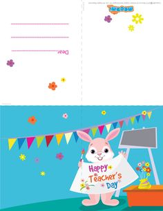 """The Rabbit wishes """"Happy Teachers' Day!"""" - Wish your teachers' this teachersday with this awesome printable teachers day card. Browse through our collection of teachers day cards and download.For more cool #greetingcard for #kids, visit: http://mocomi.com/fun/arts-crafts/printables/cards/"""