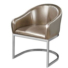 "Modern Barrel-style Accent Chair In Metallic, Champagne Faux Leather And Polished Chrome Base. Seat Height Is 18. 5""."