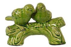 Ceramic Birds on a Stump Gloss White