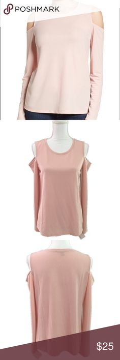 """Halogen Blush Pink Cold Shoulder Top Size M Halogen Blush Pink Cold Shoulder Top Size M  Slightly sheer cold shoulder top from Halogen in color pink peach. Jewel neckline and long sleeves. New with tags, never worn. Size M. Retails for $45.  Fabric Content: - 96% polyester, 4% spandex  Measurements (not doubled, approximate and taken with garment laid flat): - Bust: 18"""" - Sleeve: 21.5"""" - Hem width: 22""""  - Shoulder to shoulder: 13.5"""" - Total length: 25.5"""" Halogen Tops Blouses"""