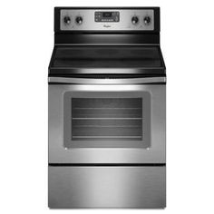 Whirlpool Smooth Surface Freestanding 5-Element 5.3-cu ft Self-Cleaning with Steam Convection Electric Range (Stainless Steel) (Common: 30-in; Actual 29.875-in)
