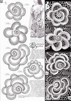 REGINA RECEITAS DE CROCHE E AFINS: flores para croche russo ou irlandês.
