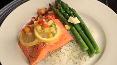 Enjoy fresh salmon with tangy fruit salsa, an elegant 600-calorie meal.
