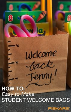 Welcome students back to school with personalized gift bags! Create little kits that will help get students excited for the school year ahead in just a few quick steps. This project is also great for parents looking to help make going back to school special for their children. See the steps and other cool craft ideas at Fiskars.com. Back To School Special, Back To School Night, Back To School Party, Back To School Crafts, Welcome Back To School, 1st Day Of School, Beginning Of The School Year, Back To School Activities, School Fun