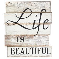 Life Is Beautiful Wall Decor - White