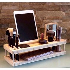 Wood Makeup Organizer Makeup Stand Makeup Station Gift for Her Girlfriend Gift Birthday Present Gift for Mom Jewelry Stand Jewelry Box by altawie1 on Etsy https://www.etsy.com/listing/269059124/wood-makeup-organizer-makeup-stand