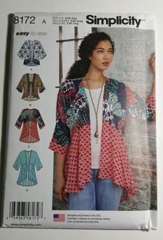 Sewing Ladies Clothes Simplicity Sewing Pattern 8172 Misses Kimonos Sizes XXS-XXL U. Sizes New and Uncut Pattern - Simplicity Sewing Pattern Kimonos with Length, Fabric and Trim VariationsSizes XXS-XXLU. Sizes and Uncut Pattern Style Kimono, Mode Kimono, Kimono Jacket, Kimono Blouse, Simplicity Sewing Patterns, Sewing Patterns Free, Clothing Patterns, Style Patterns, Kimono Sewing Pattern