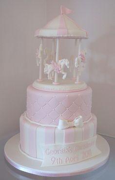 Pale #pink #pastel carousel #cake.