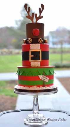 Reindeer, Santa & Elf Tiered Christmas Cake