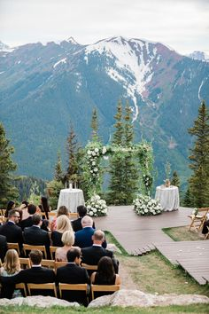 Summer wedding ceremony in Aspen, Colorado, with mountains in the background and a natural floral ceremony arch. Colorado Wedding Venues, Summer Wedding Venues, Wedding Ideas, Outdoor Wedding Destinations, Destination Wedding Locations, Outdoor Wedding Venues, Summer Weddings, Wedding Pictures, Wedding Inspiration