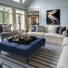 Tan White And Sea Blue Beach House Living Room With