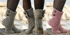 Warm socks for cold days: video tutorial and knitting patterns for socks - New Decoration ideas Knitted Slippers, Knitted Bags, Slipper Socks, Knitting Patterns Free, Crochet Patterns, Crochet Ideas, Moon Shoes, Pattern Pictures, Pattern Ideas