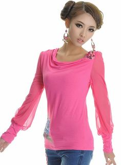 Chinese Style Embroidering Long Sleeve T-Shirt Rose-- Click on the picture to order it>>Shop price:US$11.20---#shoes #wholesale #fashion #lovely #cheap #Korean #dress #sexy #clothes#