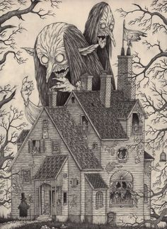 Edward Gorey is one of my favorite artists. What if he had illustrated Lovecraft's stories or created artwork with Lovecraftian themes? The art of John Kenn Mortensen might be the result. Art And Illustration, Monster Illustration, Monster Art, Monster Drawing, Arte Horror, Horror Art, Fantasy Kunst, Fantasy Art, Don Kenn