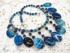 Blue Agate statement necklace cascade collier bib by SanaGem