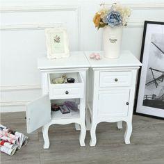 1/2PCS French Vintage Bedside Table Cabinet Nightstand Bedroom Furniture Units