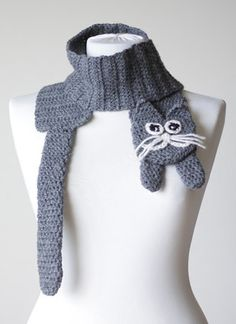 Chunky scarf, Kitty Scarf grey, Women Cat scarf, Crochet kitty scarf, Cat…