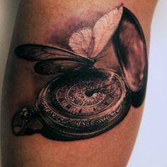 ellenwestholm @ instagram, Wicked Tattoo in Gothenburg, Sweden. Butterfly, pocket watch.