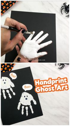 This easy handprint ghost art project is a fun and simple Halloween activity for little kids in preschool, pre k and kindergarten. Learn how to make this easy handprint ghost art for kids this Halloween season! It's a fun hands-on craft kids will love. Halloween Art Projects, Theme Halloween, Halloween Arts And Crafts, Halloween Crafts For Toddlers, Halloween Tags, Halloween Season, Halloween Preschool Activities, Holiday Crafts, Craft Projects