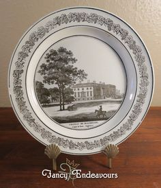 Antique Creil French Creamware Plate of English Scene Blackheath in Kent #Creil