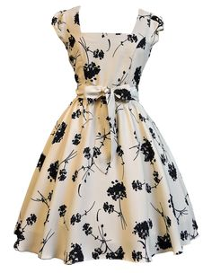 Lady V London Cream with Black Floral Swing Dress