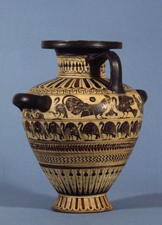 Pottery: black-figured hydria (water-jar) with a gorgon's head between sphinxes above a line of birds. The birds have been identified as either cranes or guinea-fowl. On the other side, a cock confronting a swan(?).